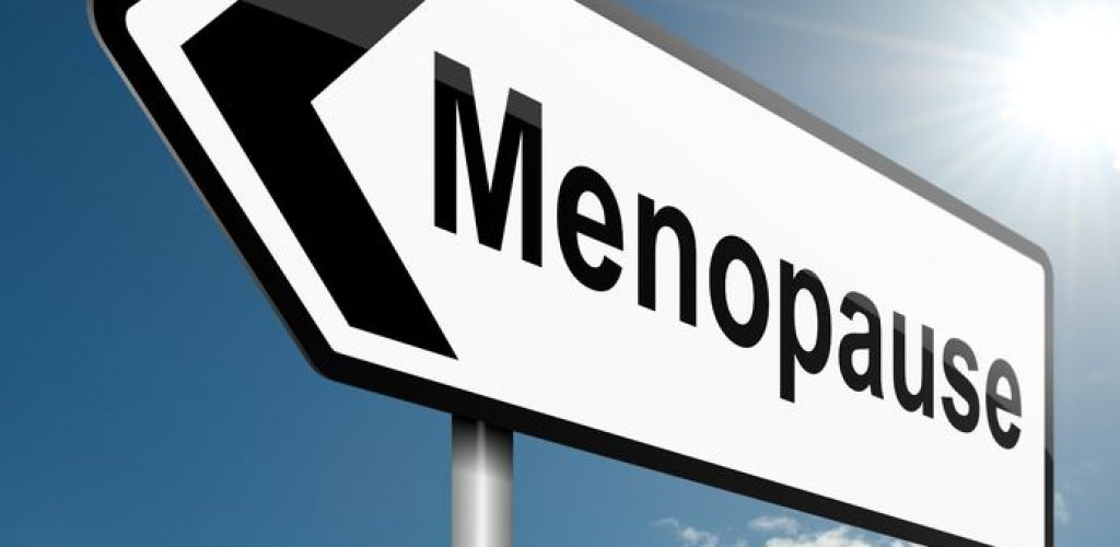 13747632 - illustration depicting a road traffic sign with a menopause concept. blue sky background.